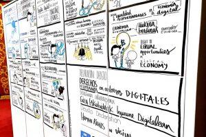 Graphic recording en tres idiomas (euskera, castellano e inglés) de la Declaración de Derechos Humanos en Entornos Digitales de la Universidad de Deusto.