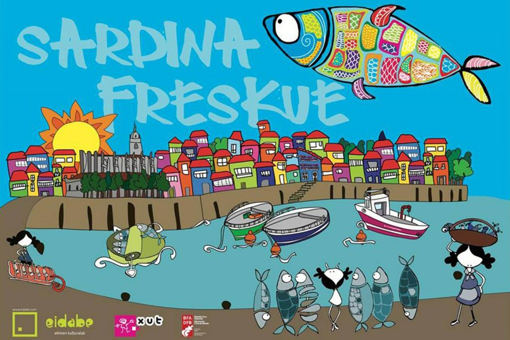 """""""Sardina Freskue"""" cartel y elementos teatrales"""